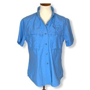 L.L.Bean Blue Button Down Fishing, Hiking Shirt  M